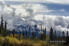 Fall colors, mists and mountains snows on the Cariboo Mountains, Mitchell River, Cariboo-Chilcotin region, British Columbia