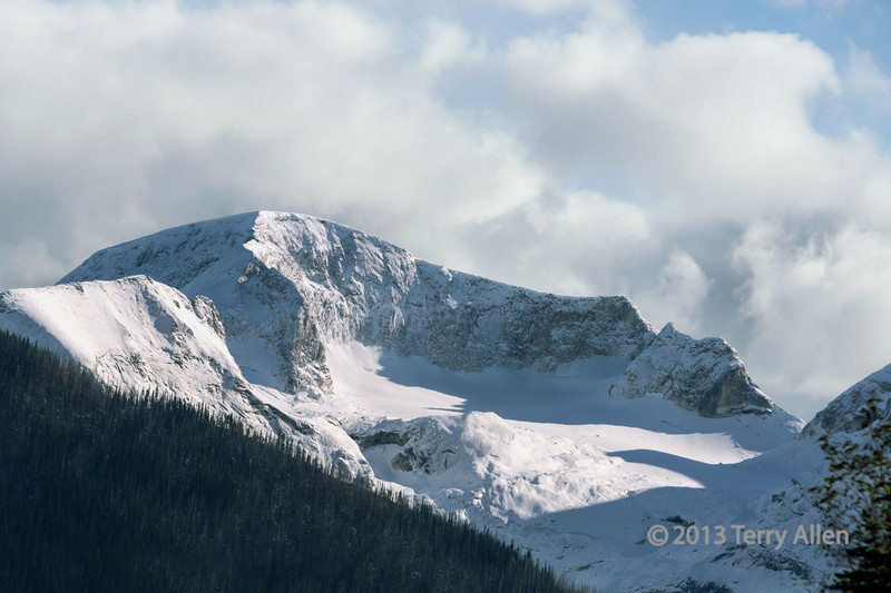 Late day shadows on the snow, Cariboo Mountains, Mitchell River, Cariboo-Chilcotin region, British Columbia