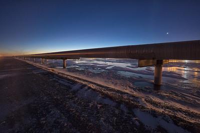 Oil Infrastructure from Alaska's Arctic Coastline, Prudhoe Bay Oil Fields. Alyeska Oil pipeline that goes from Prudhoe Bay Alaska to Valdez.