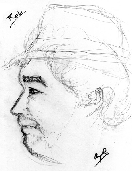Caricature of Rob by Alex Ray.