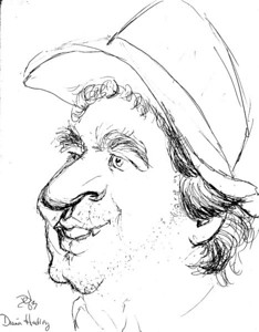 Caricature of Rob by Diana Handley.