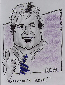 "Caricature of Rob by ""Doc"" Cramer."