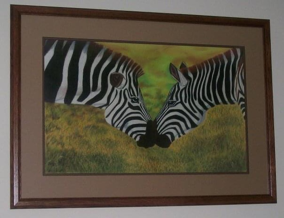 Zebra drawing from highschool in colored pencils and pastels