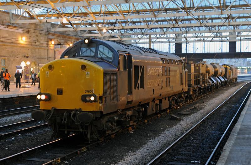 37609 & 37608, 3S77, Carlisle, Fri 16 November 2012 - 1605 1.  The north east railhead treatment (water canon) train returns to Kingmoor...
