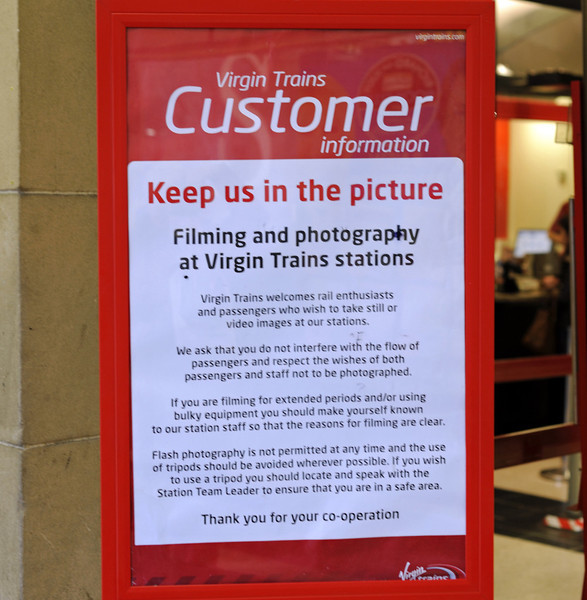 Virgin welcomes sensible enthusiasts, Carlisle, Fri 16 November 2012.  Will other train companies be so accommodating if they take over the West Coast franchise?