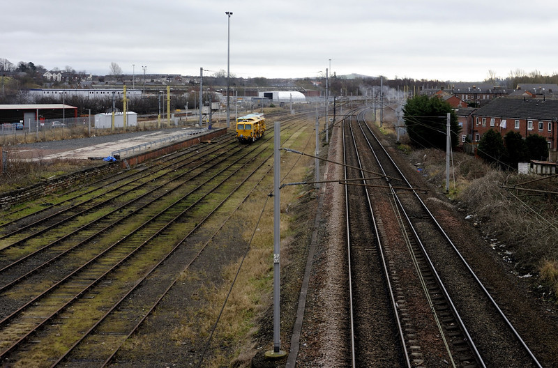 Upperby, Carlisle, Thurs 23 February 2012.  Looking south, with the WCML at right.  The goods lines to Bog Junction and the through siding to London Road Junction are out of sight at left.  The London & North Western Rly loco shed used to stand in the distance, where the LNWR carriage sheds survive.