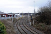 Upperby goods line, Carlisle, Sat 25 February 2012 1.  Looking south.  The lines join the WCML at Upperby Bridge Junction.