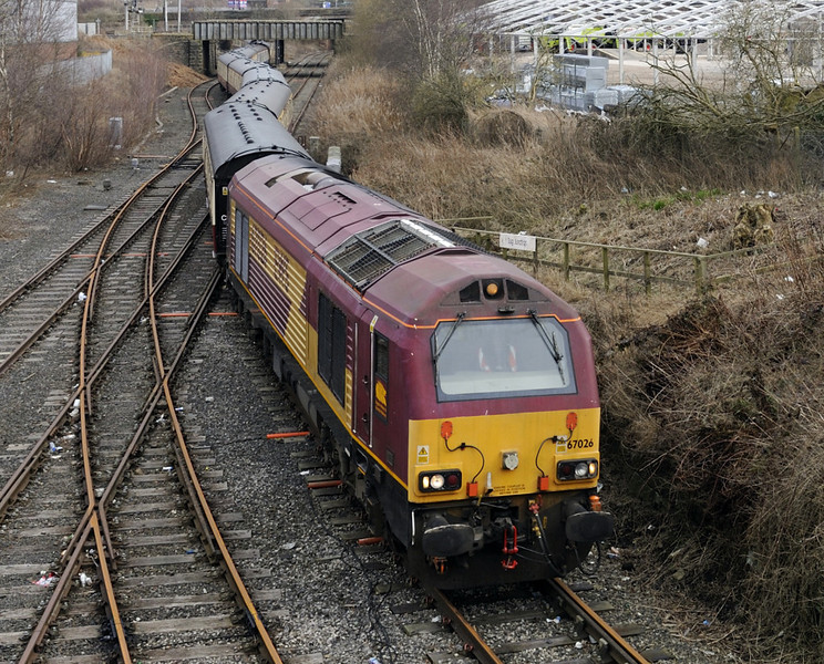 67026, 1Z73, Bog Junction, Carlisle, Sat 25 February 2012 - 1341.  The Carlisle goods lines are hardly ever used, but here is 67026 winding UK Railtours' Grand Cumbrian Panorama from Euston onto the Maryport goods line.  67026 worked the train from and back to Preston via Settle, London Road Junction and Whitehaven; the Euston legs were handled by 90035 with the 67 on the tail.