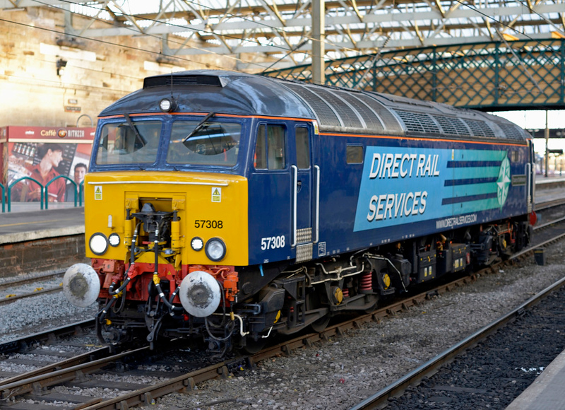57308 County of Staffordshire, 1Z99, Carlisle, Tues 30 December 2014 - 1440.  Despite the presence of 57309 at Carlisle, 57308 was scrambled from Preston to Lockerbie to rescue 390154 which had failed on Virgin's 9M54 1051 Edinburgh - Birmingham - Euston.