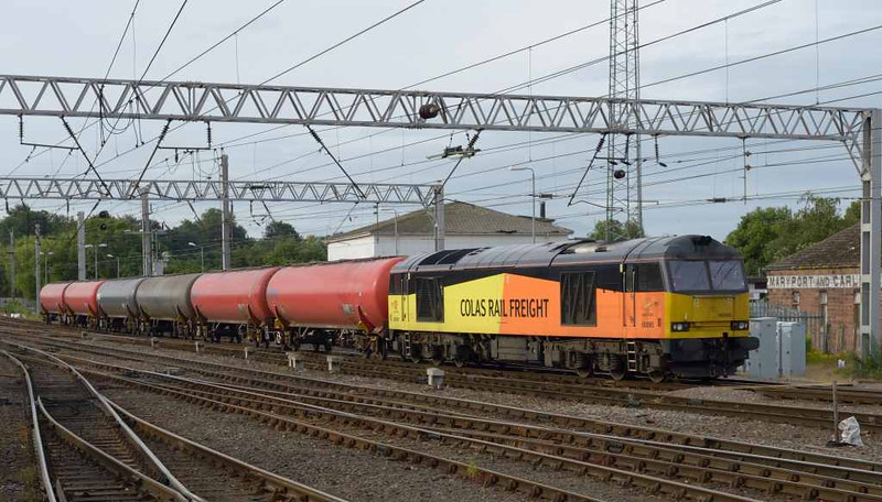 60095, 6S36, Carlisle Citadel, Wed 6 July 2016 - 0723.  Colas's very early 0832 Dalston oil terminal - Carlisle yard empty tanks.  The train left the yard on time at 0958 to Grangemouth Ineos after picking up the previous rake of empties which it had taken from the oil terminal at 0251, 47 early.