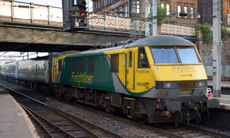 92014 & 90049, 1S26, Carlisle, Wed 6 July 2016 - 0501 2.  The Freightliner loco was dead on the rear as insurance for 92014.