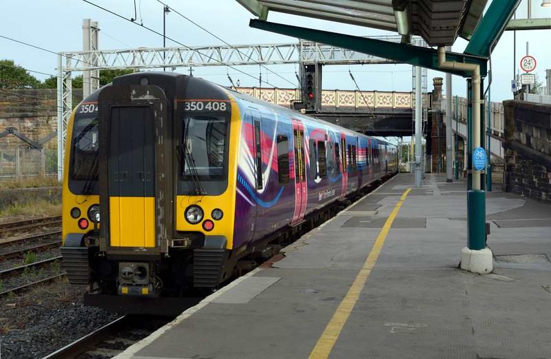 350408, 1S30, Carlisle Citadel, Wed 8 July 2016 - 0653.  FTPE's 0500 Manchester Piccadilly - Glasgow leaves platform 1.