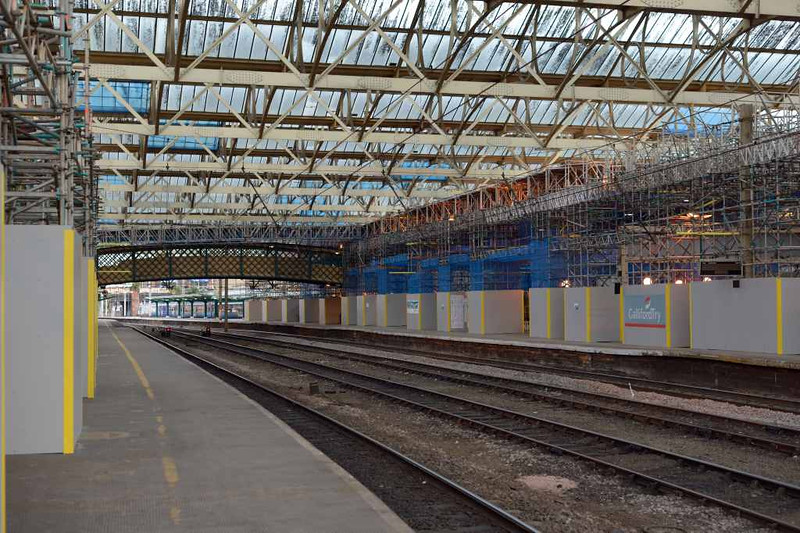 Station upgrade, Carlisle Citadel, Wed 6 July 2.  Looking north along platform 3.  The scaffolding is is being erected in preparation for the replacement of the station roof.