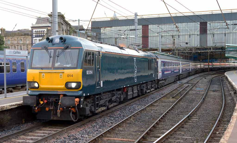 92014 & 90049, 1S26, Carlisle, Wed 6 July 2016 - 0501 1.  The 2350 lowland Caledonian Sleeper from Euston to Glasgow and Edinburgh.  The locos had worked the previous night's 1M11 lowland sleeper to Euston; this had been the first time a class 92 had appeared on a sleeper for almost a year.  92014 has been modified by Wabtec Loughborough to overcome the unreliability which has plagued its classmates.  It worked 1M11 and 1S26 solo on the following three nights.