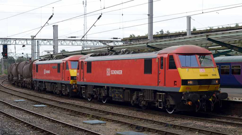 90029 & 90018 The Pride of Bellshill, 6S94, Carlisle Citadel, Wed 6 July 2016 - 1218.  DB Cargo's WO 0203 Dollands Moor - Irvine Caledonian Paper china clay.