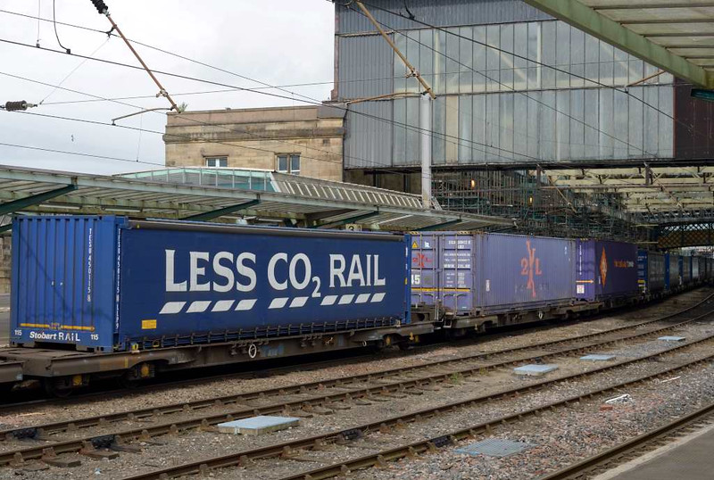 68020 Reliance & 68004 Rapid, 4S43, Carlisle Citadel, Wed 6 July 2016 - 1029 2.  As usual the Tesco Express carried a few Belgian 2XL 9ft 6in containers in addition to its 8ft 6in Less CO2 curtainsiders.