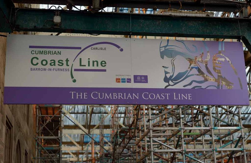 New Cumbrian coast line sign, platform 3, Carlisle Citadel, Wed 6 July 2016.