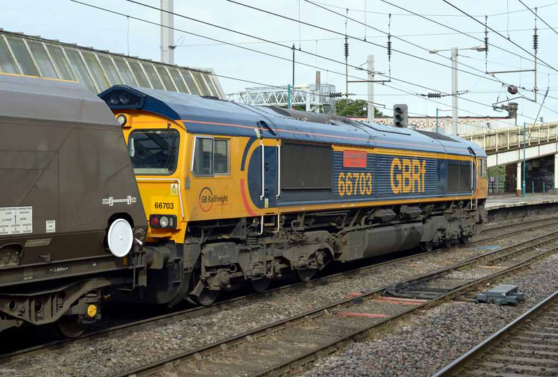 66703 Doncaster PSB 1981 - 2002, 4S84, Carlisle Citadel, Wed 6 July 2016 - 0840 1.  GBRf's 0551 Tyne coal terminal - Greenburn coal empties.