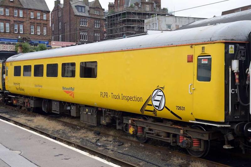 Plain line pattern recognition (PLPR) track inspection coach 72631, 1Q74 test train, Carlisle Citadel. Wed 6 July 2016 1.