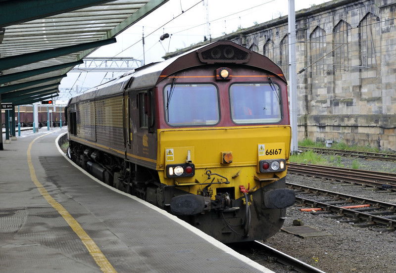 66167. 0M75, Carlisle, Fri 29 June 2012 - 0810.  The Shed heads for Carlisle yard after working DB Schenker's Thurs 6M75 2028 Margam - Hardendale lime empties.