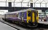 156438 Timothy Hackworth & 156443 (behind), Carlisle, Fri 29 June 2012 - 1303.  Northern's strengthened 1328 to Newcastle awaits departure.
