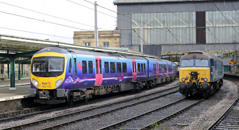 185131 & 57315, Carlisle, Fri 29 June 2012 - 0701.   First TransPennine Express's 0536 Edinburgh - Manchester Airport.