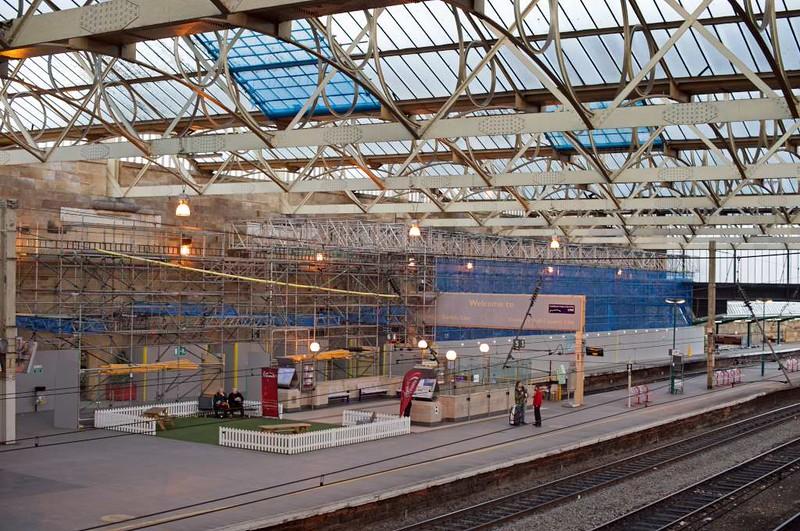 Carlisle station, Wed 23 March 2016 - 1755.  Refurbishment work in progress on platform 4.