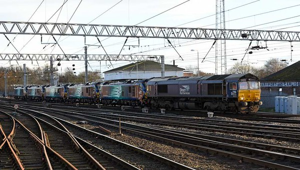 66433, 88001 Revolution, 88008 Ariadne, 88003 Genesis, 88005 Minerva & 88004 Pandora, 6Z89, Calisle, Wed 1 March 2017 - 1633.  DRS's 1600 Workington docks - DRS Kingmoor move.  The 88s had been unloaded at Workington that morning from the Eemslift Nelli, using the ship's own cranes.  It had brought them from Sagunto, left on the 23rd.