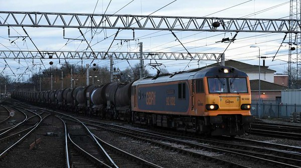 92032 IMechE Railway Division, 6S94, Carlisle, Wed 1 March 2017 - 1750.  GBRf's 0230 Dollands Moor - Irvine Caledonian Paper clay tanks arrives 328 late.  It had left Wembley 356 late.  66744 worked the train from Carlisle yard to Irvine via Dumfries.