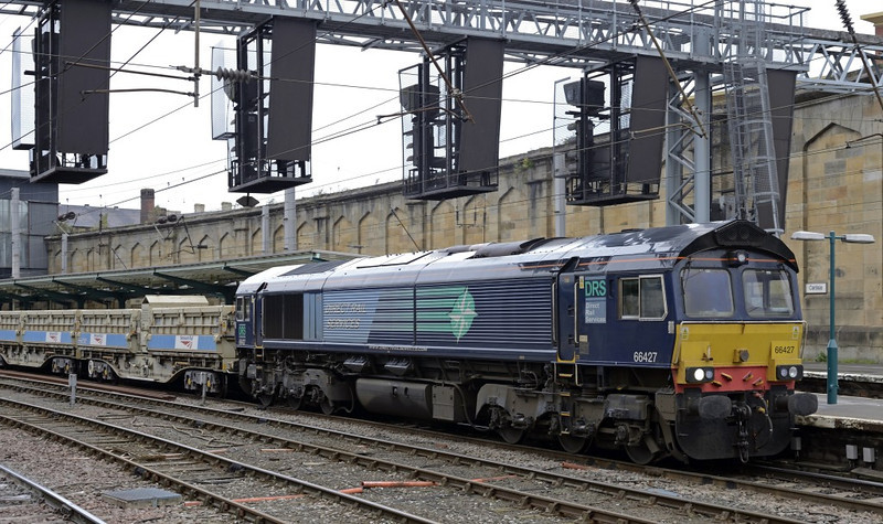 66427, 6K05, Carlisle, Mon 7 October 2013 - 1304.  DRS's 1218 Carlisle yard - Crewe Basford Hall departmental, about to run via Shap for the first time since DRS took over, rather than via Settle.  The wagons were reported as 501038/233/234/232/098, 967642, 621913, 503571, 29518, 29402, 29459 & 29528.