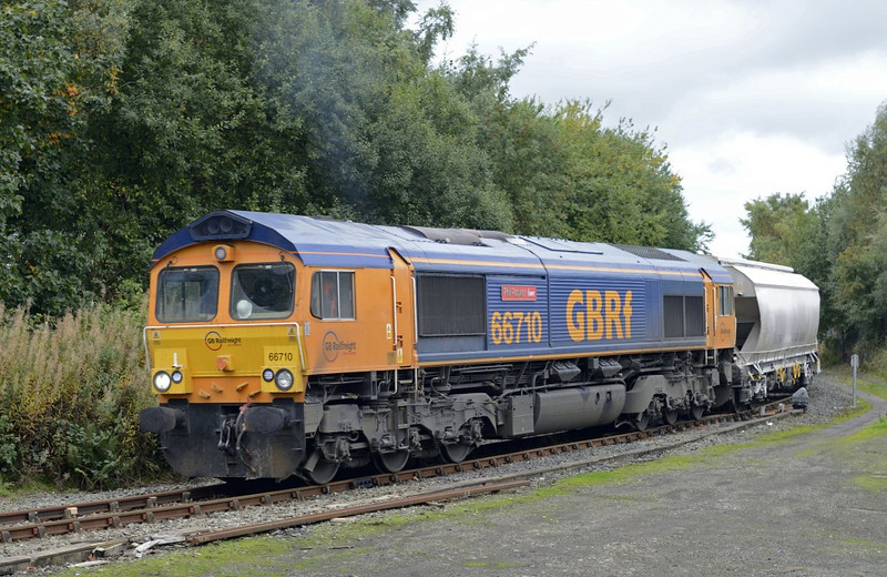66710 Phil Packer BRIT, 6Z58, London Road Junction, Carlisle, Mon 7 October 2013 1 - 1246.  GBRf's MWO 1155 Hardendale - Lackenby lime approaches the junction from Upperby after waiting for the road.  Mr Packer is a former soldier who was badly injured in Iraq.  He has since raised over £1 million for charity, and has founded the British Inspiration Trust.
