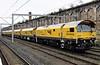 Loram railgrinders DR 97501 (nearest), 97502, 97503, 97505, 97506 & 97507, Carlisle, Fri 6 October 2017 - 1627.