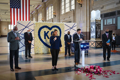 Union Station President and CEO George Guastello leads a moment of silence during the Core 4 governments' rememberance of the start of the pandemic protocols at Union Station on Tuesday afternoon.