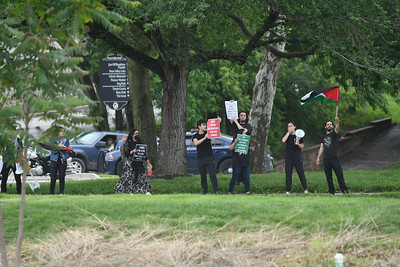 First Lady Jill Biden visits MCC Pen Valley, May 27, 2021 to tout vaccine and give out vouchers for a free class offered to anyone who registered for the shot. Advocates for Palestinian liberation demonstrated across 31st street during her appearance.