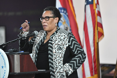 HUD Secretary Marcia Fudge visits Kansas City on May 26, 2021. She spoke at the Negro Leagues Museum. KC Tenants showed up asking for a meeting.