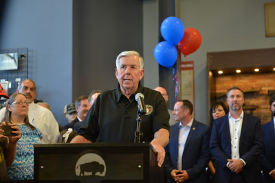 Parson talks inside Frontier Justice in Lee's Summit on June 12 before he signed HB85.