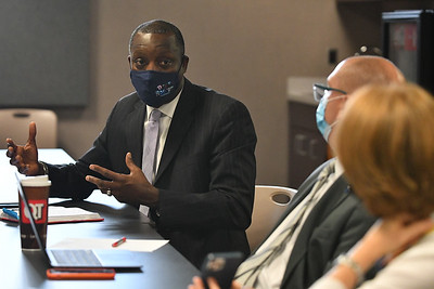 KCPS Superintendant Mark T. Bedell talks at an Ad Hoc Committee meeting on July 27, 2021.