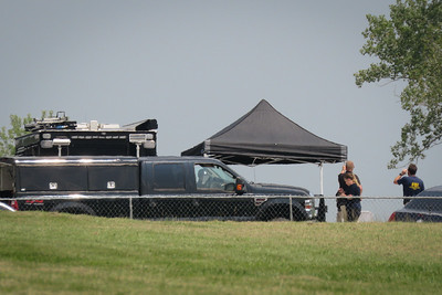 FBI and other authorities investigate the area around the home of Michael Hendricks in  Grain Valley on Thursday, July 23, 2021. Carlos Moreno photo