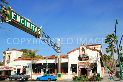 471 South Coast Highway, Encinitas, CA - 1928 La Paloma Theater in Background with Encinitas Sign