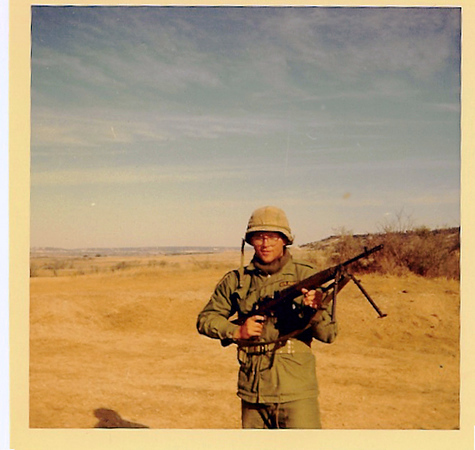 Fort Hood, John 'Chunky' Carlson (NJ) with M-14 automatic rifle. (JC30)
