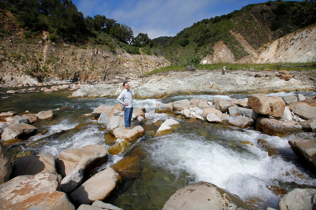 . Tommy Williams, research fishery biologist with NOAA at the old San Clemente Dam site on the Carmel River in Carmel Valley on Wednesday, April 26, 2017.  (Vern Fisher - Monterey Herald)