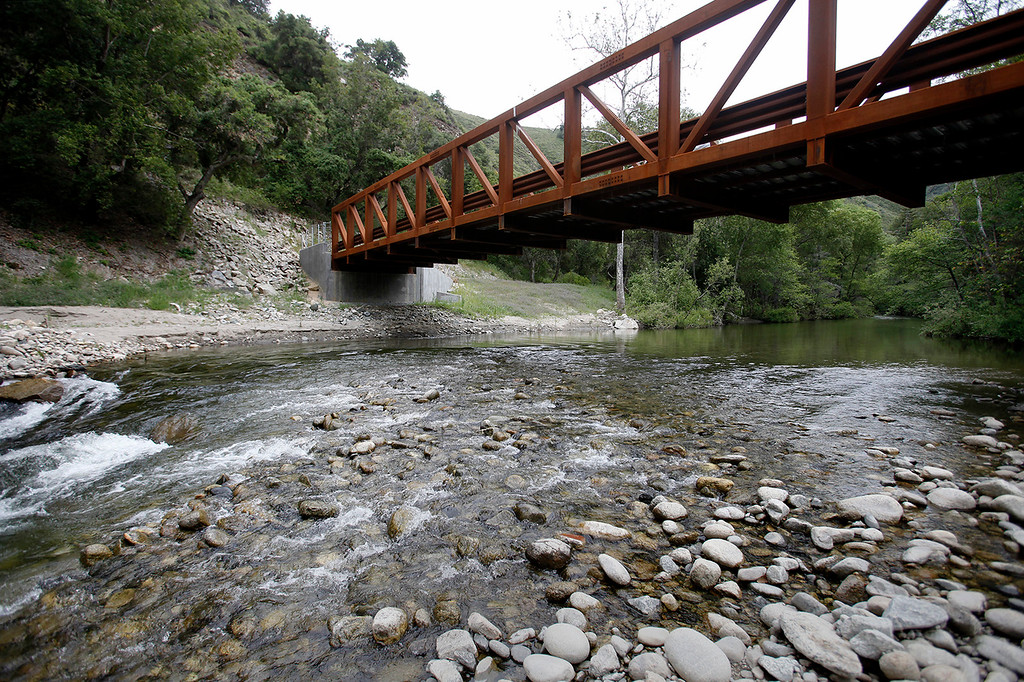 . A new bridge spans the Carmel River below the old San Clemente Dam site in Carmel Valley on Wednesday, April 26, 2017.  (Vern Fisher - Monterey Herald)