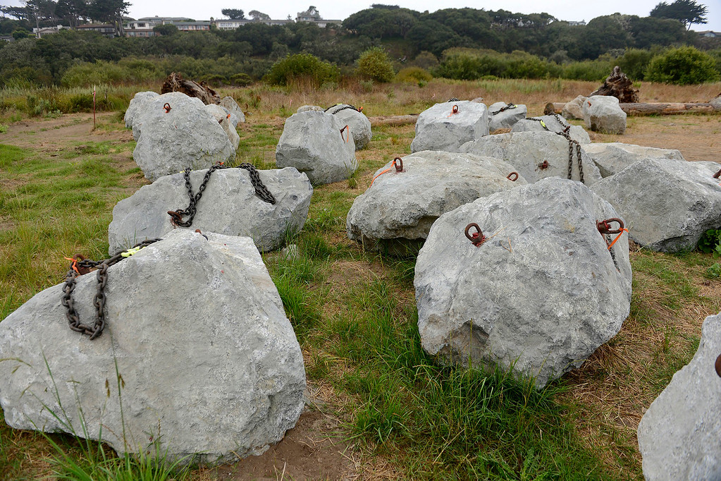 . Boulders to be used as anchors near the Carmel River on Tuesday, Aug. 29, 2017.   Brian LeNeve, president of the Carmel River Steelhead Association will oversee a habitat improvement plan for the federally protected steelhead trout in the lower Carmel River.  (Vern Fisher - Monterey Herald)
