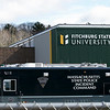 This State Police vehicle was outside of the Carmelita Landry Arena at the Wallace Civic Center at Fitchburg State University Wednesday, April 1, 2020. SENTINEL & ENTERPRISE/JOHN LOVE