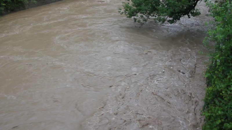Flooding at Lock 29, view from the bridge over the Cuyahoga River.