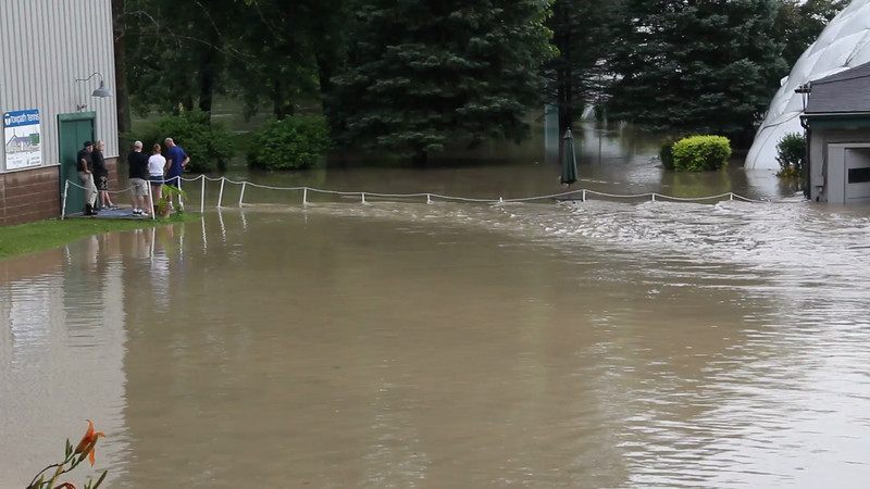 Additional footage of the flooding at the Akron Tennis Club.