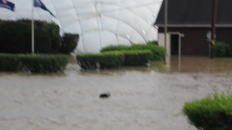 Flooding at the Akron Tennis Club located in the valley on Akron-Peninsula Rd.