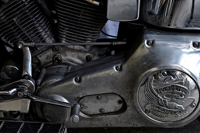 in the garage, an old Harley.