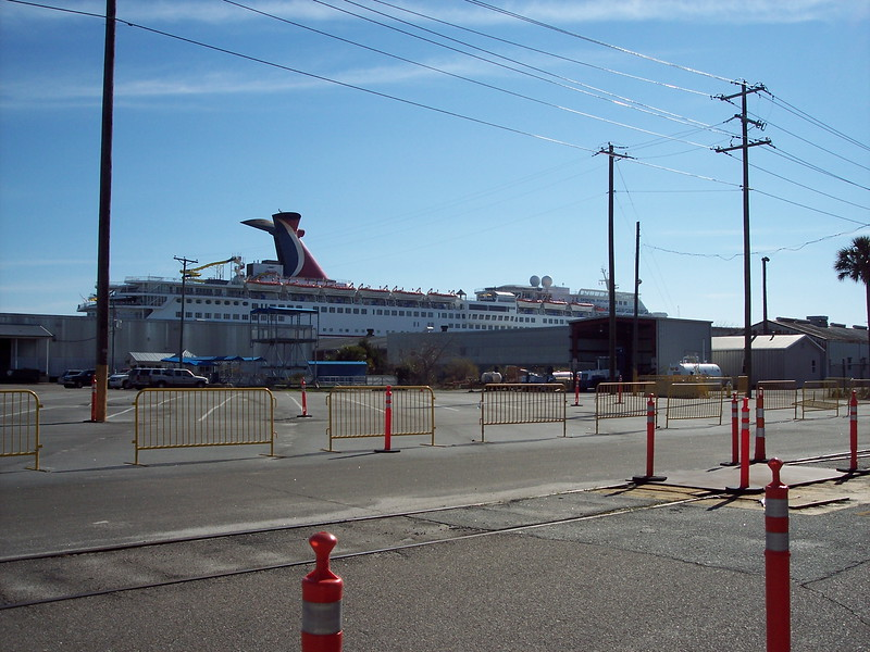 First view of ship from parking lot