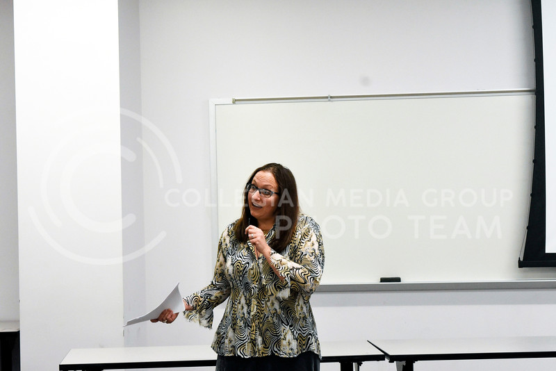 Lisa Tatonetti, English professor, gives a lecture about Carole LaFavor's Indigenous Erotics: Indigenous Feminism and HIV Activism in the 1980s and 1990s. The lecture was held at Bluemont Hall on Feb. 21,2018. <br /> ( Hasan Albasri | Collegeian Media Group )